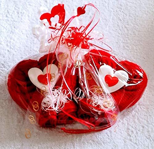Zwei Tier-handtuch (Geschenk zur Hochzeit, Handtuch-Doppelherz in rot, fertig verpackt in Geschenkfolie)