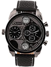 amazon co uk oulm watches watches oulm high quality men large dial 2 time zone military wrist watches black