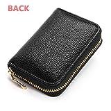 KEoly Portafoglio in pelle bloccata con cerniera sottile tasca porta carte di credito portafoglio multi-card (Nero)