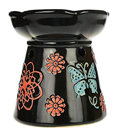 Black Ceramic Butterfly Flowers Oil Burner-10