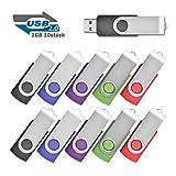 EASTBULL 1GB Speicherstick USB 2.0 Sticks Data Datenspeicher, 10 stück Schwarz,Blau,Violett,Grün,Rot