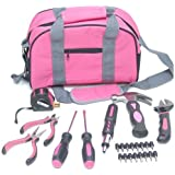 PINK 25pc TOOL SET IN BRIGHT PINK TOOL BAG HAMMER SPANNER PLIERS SCREWDRIVER ETC by Marksman