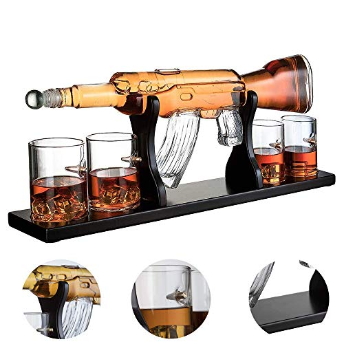 Weißwein-Dekanter-Set M16 Big Pistol Scotch Whisky-Dekanter 1000 Ml Alkoholisches Getränk - 4-Kugel-Tasse - Mit Mahagoni-Holzsockel Scotch Dekanter