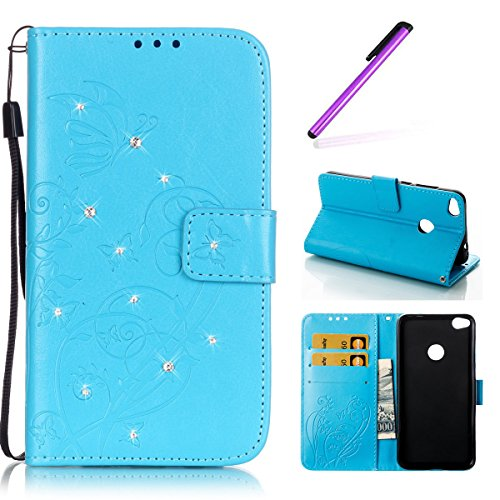 Huawei P8 Lite Hülle 2017,Huawei P8 Lite 2017 Hülle Leder,Huawei P8 Lite 2017 Hülle Silikon,EMAXELERS Huawei P8 Lite 2017 Hülle Flip Case Wallet Leder für Huawei Honor 8 Lite,Huawei P8 Lite 2017 Hülle Blumen,Huawei P8 Lite 2017 Hülle Bling Diamant Schmetterling Muster PU Leder Ledercase Flip Tasche Wallet Schutzhülle Etui Tasche Handytasche Hülle für Huawei P8 Lite 2017,Blue Butterfly with Diamond (Blue Leder-taschen Light)