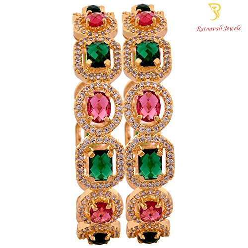 Ratnavali jewels American Diamond Studded Gold Plated Red Ruby Green Emerald Bangles for Women/Girls RV1938M-2.8  available at amazon for Rs.1449
