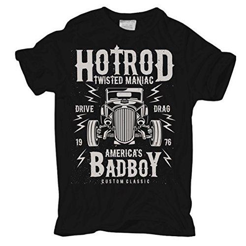 Männer und Herren T-Shirt HOT ROD Schwarz