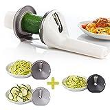 *KENNENLERN-AKTION* MATIVI Spiralschneider für Gemüsespaghetti, Gemüseschneider für Spiralnudeln, Gemüsehobel für Zucchini Nudeln, Zoodles, 3-Klingen, Rostfrei