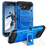 BEZ Coque Samsung Galaxy J3 [2015/2016], Coque Etui Housse Antichoc Militaire Heavy Duty Shock Proof Survivor pour Samsung Galaxy J3 - Bleu