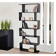 Homcom - Libreria di Design Mobili Ufficio Scaffale in Legno 80x25x192cm Nero