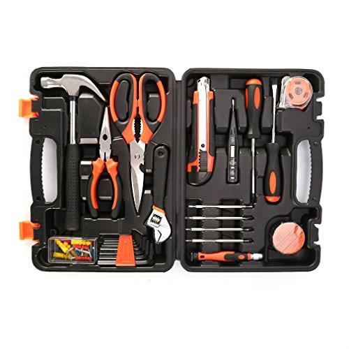YKS Haushalts Werkzeugkoffer 45 teiliger Werkzeug Metallkonstruktion Hohe Qualität Werkzeugtasche Tool Kit Werkzeugset Werkzeugkiste Werkzeugwagen