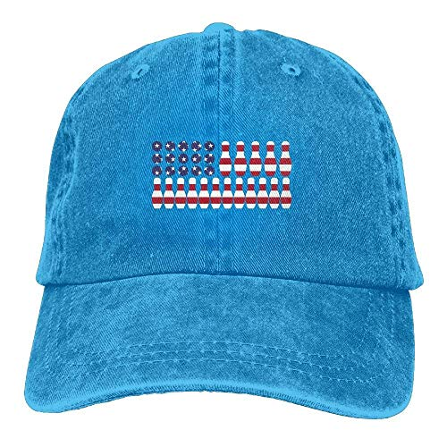 JINHBYV Patriotic Lover Bowling Ball Ki American Flag Adjustable Cotton Cap -