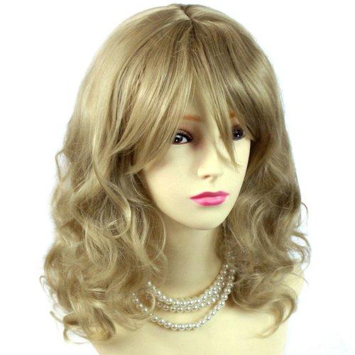 Atemberaubende Hitzebeständig Lockig/krauses/Medium Light Honig Blonde Damen-Perücke mit Head Haut Nachahmung