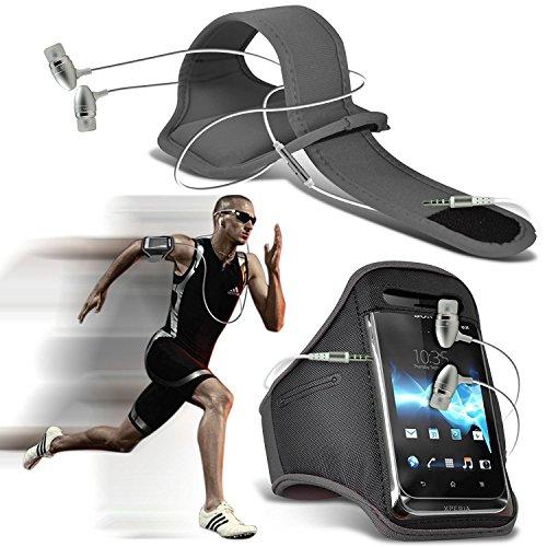 ( Schwarz ) Cubot Manito bei hoher QualitŠt ausgestattet, Armbinden Sport Laufen Radfahren Bike Fitness Jogging befreien Armband HŸlle, Case Cover von i-Tronixs Armband + earphones (Grey)