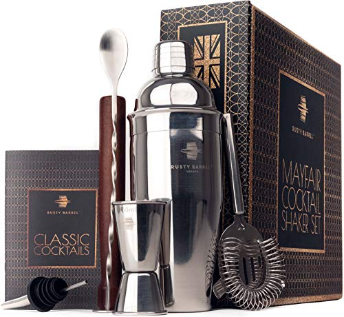 Rusty Barrel® Mayfair Cocktail Making Set - Large Manhattan Style Stainless Steel Shaker, Muddler, Strainer, Bar Measure, Pourer, Spoon & Recipe Booklet | Presented in a Luxury Gift Box (UK Brand)