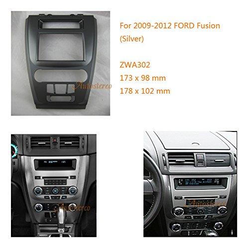 Zwnav Car Audio Radio Cadre de montage panneau de façade d'autoradio pour Ford Fusion 2009-2012 (Argent) stéréo Façade d'autoradio Dash CD Trim Kit d'installation