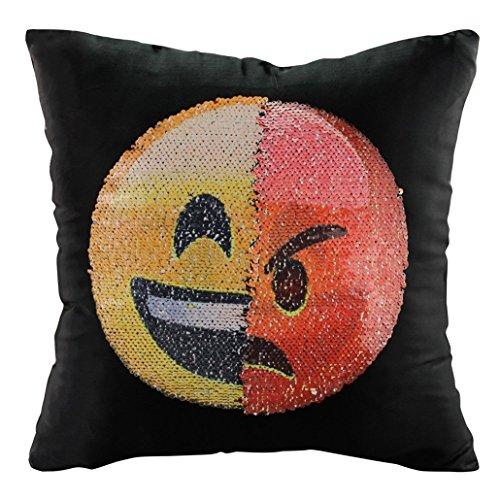 Chinget Emoji Pailletten Kissen Pailletten Kissenbezug Startseite Schlafzimmer Sofakissen Kissenabdeckung 40x40cm (Stil 3)