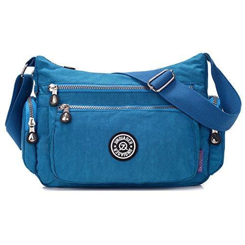 Tiny Chou - Borsa messenger a tracolla, in nylon leggero e impermeabile, con numerose tasche e cerniere Blu (Blu Oceano)
