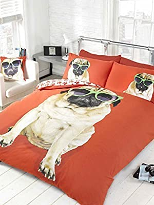 Bedding Heaven Reversible, Fun Design. PERCY PUG DUVET COVER, RED. DOUBLE BED SIZE DUVET COVER. Cute Dog in Sunglasses, Paw Prints on Reverse.
