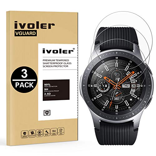 iVoler [3 Pack] Pellicola Vetro Temperato per Samsung Galaxy Watch 46mm / Samsung Gear S3 Frontier / S3 Classic [Garanzia a Vita],...