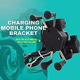 miju Soporte Movil Moto para Teléfono Acoplamiento Rápido del Manillar 2A USB para Navegación Bicicleta Motocicleta, X Type, Black Incredible