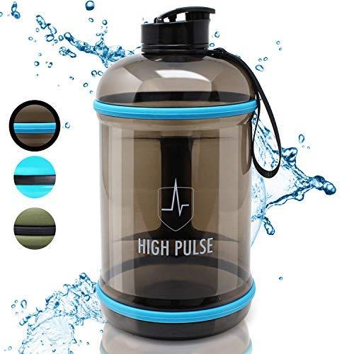Borraccia palestra 2,2 L con laccetto - la borraccia sportiva XXL a prova di perdite è ideale per il tuo allenamento e potenziamento outdoor - 100 % senza BPA (Nero)