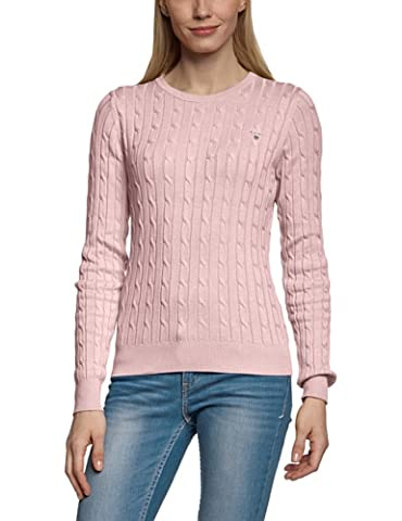 Gant Women's Stretch Cotton Cable Crew Crew Neck Long Sleeve Jumper, Pink (NANTUCKET PINK 654), UK 18 (Manufacturer Size: XX-Large)