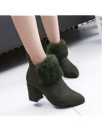 RUGAI-UE Invierno e invierno lijado lateral cremallera medio recipiente Martin Boot Moda botas de mujer botas...