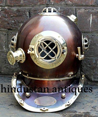 Antique Diving Divers Helmet Solid Steel U.S Navy Mark IV Full Size 18 by NAUTICALMART