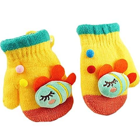 Pandaren® bébé fille garçon infantile laine super chaud fil mitaines en tricot pour enfants 2-6 ans gants moufles(poisson) (Jaune)