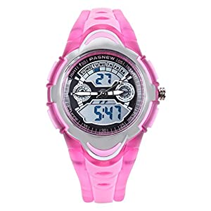 FORESEEX Kinder Uhr Analog-Digital Quarz mit Polyurethan Armband Rosa 212G2