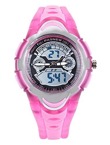 FSX-212G Analog Digital Dual Time Kids Jungs Rosa Sport digitale wasserdicht LED Augen Armbanduhr mit Hintergrundbeleuchtung, Alarm, Stoppuhr, Chronograph, Glockenspiel, Kalender, Datum und Tag