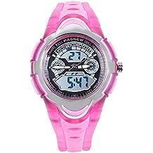 FSX-212G sport digitale analogico dual time LED resistente all'acqua Orologio da polso bambino ragazzo(rosa)