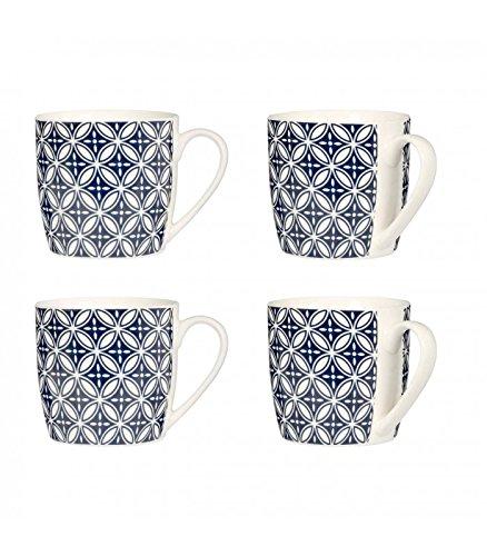 Premier Housewares Blume Tassen, Porzellan, 4Stück, Blau, 20x 19x 9cm