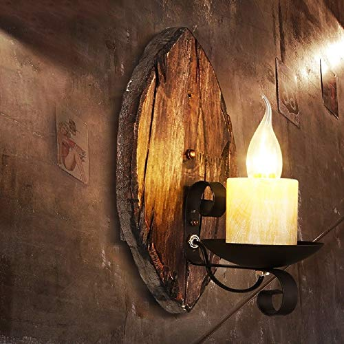 Massivholz-theke (Aaedrag Kreative Persönlichkeit Retro Industrie Wind Kerze Wandleuchte Amerikanischen Massivholz Wandleuchte Restaurant Theke Gang Balkon Wandleuchte Ständer)