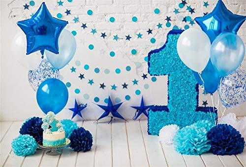 (Cassisy 2,2x1,5m Vinyl 1.Geburtstag Fotohintergrund Baby Junge Blauer Ballon Dekor Craft Flower Brick Wall Fotoleinwand Hintergrund für Fotoshoot Fotostudio Requisiten Party Baby Photo Booth)