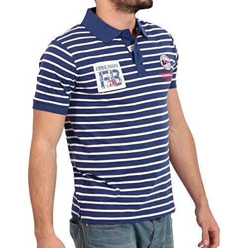 FRESH BRAND Herren Kurzarm Polo Shirt in Dunkelblau/Weiß Blau
