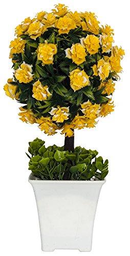 Busch, mit Vibrant Yellow Blumen in Weiß Kunststoff-Topf von haysoms