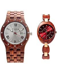 TSAR Wooden Silver and Burgundy Dial Wood Watch- Couple's Watch Quintet and Grace Majesty