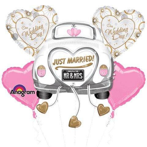 Amscan Just Married Wedding Car Balloon Bouquet Foil Balloons, Metal