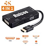 HDMI auf HDMI DVI VGA Audio Adapter Multiport 4in1 Adapter Konverter für Laptop Computer Top-Box TV (Schwarz)