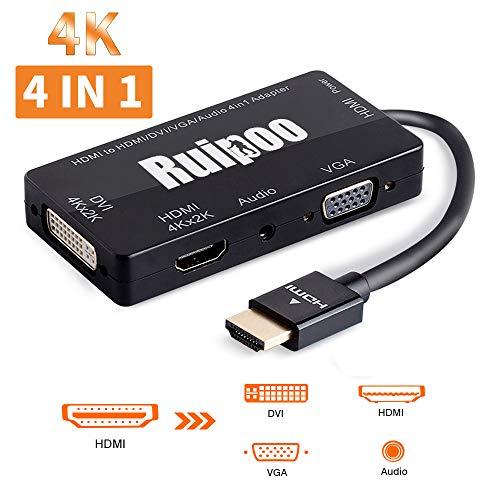HDMI auf HDMI DVI VGA Audio Adapter Multiport 4in1 Adapter Konverter für Laptop Computer Top-Box TV (Schwarz) -