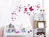 """I-love-Wandtattoo WAS-10073 Kinderzimmer Wandsticker Set """"Pinke Schmetterlinge für Mädchen"""" 40 Stück zum Kleben Wandtattoo Wandaufkleber Sticker Wanddeko"""