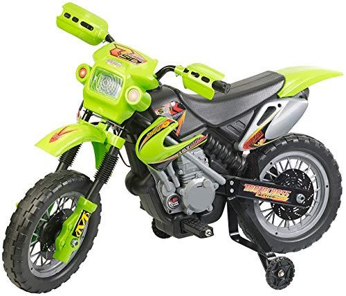 Playtastic Elektrofahrzeug: Kinder-Elektromotorrad mit Stützrädern, Licht- & Sound-Effekte, 3 km/h (Elektro-Kindermotorrad)