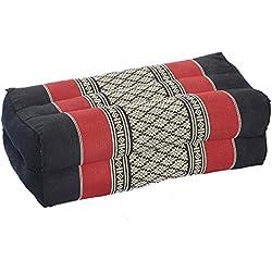 Handelsturm - Almohada en bloque, diseño tradicional tailandés, relleno de kapok, color granate y negro (35 x 15 x 10 cm)