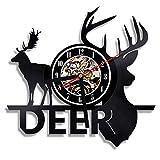 QUTICL1 Stück Deer Hunter Wanduhr Deer Antlers Vinyl Uhr Hirschkopf Wandkunst VintageWanduhr