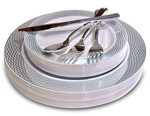 Occasions 150 Stück Set / 25 Gast - Hochzeit Kunststoff Teller & Besteck - Einwegschwergewicht Essgeschirr 10.5 '', 7.5 '' + Silber w/Doppelgabel (Diamant-Weiß/Silber) (Besteck Teller Und Hochzeit)