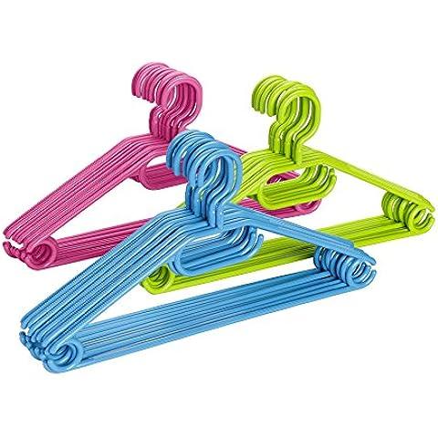 Wenko 14084100 Bügel Easy - Perchas de plástico diseñadas para pantalones, faldas, bufandas y corbatas (10 unidades, 42 cm), varios colores