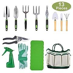 Idea Regalo - CRENOVA Set di attrezzi da giardino 10 pezzi, attrezzi da giardinaggio, cesoie da potatura, guanti da giardino, borsa da giardino, protezione in ginocchio e spray da giardino.