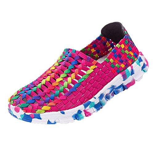 Frauen Damen Laufschuhe Atmungsaktiv Turnschuhe SchnüRer Sportschuhe Sneaker StraßEnlaufschuhe Schuhe Luftkissenschuhe Joggingschuhe Freizeitschuhe 35-40(Pink,36 EU)