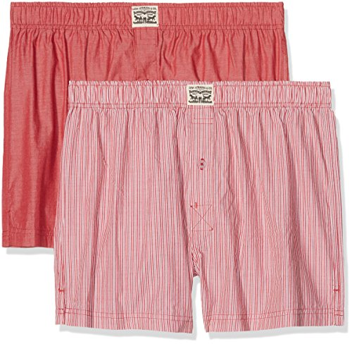 Levi's Herren Boxershorts Levis 300LS Striped Chambray Woven Boxer 2P, 2er Pack, Rot (red), X-Large -